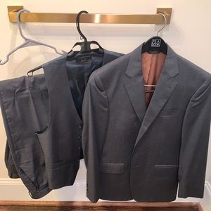 Jos. A. Bank grey corded stripe 3 piece suit